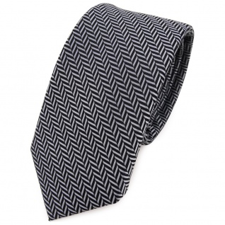 Schmale TigerTie Krawatte silber grau-schwarz gestreift - Schlips Binder Tie