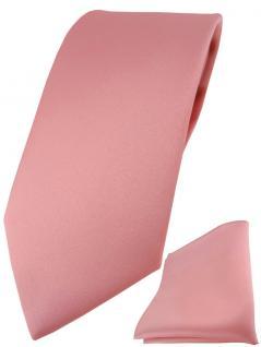 TigerTie Designer Krawatte + TigerTie Einstecktuch in dunkelrosa einfarbig uni