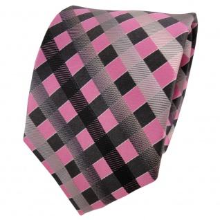 TigerTie Seidenkrawatte rosa grau silber anthrazit kariert - Krawatte Seide Silk