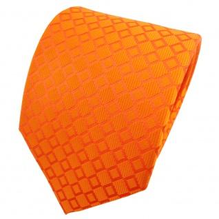 TigerTie Satin Seidenkrawatte orange reinorange kariert - Krawatte Seide Tie