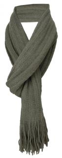 Schal in olive einfarbig mit Fransen - Schalgröße 170 x 35 cm