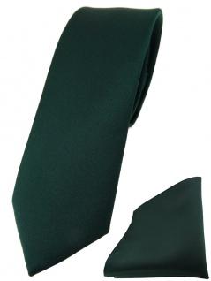schmale TigerTie Designer Krawatte + Einstecktuch in dunkelgrün einfarbig uni
