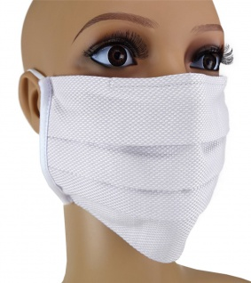 TigerTie Gesichtsmaske mit Nasenbügel Pique hellgrau gemustert mit Gummiband