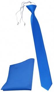 TigerTie Sicherheits Krawatte + Einstecktuch blau himmelblau einfarbig Uni Rips