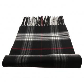 Feiner Designer Schal schwarz grau rot creme anthrazit kariert - Stoff Cashmink