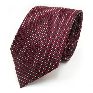 Designer Krawatte Seide rot weinrot silber schwarz gepunktet - Seidenkrawatte
