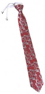 TigerTie Security Sicherheits Krawatte in rot silber Paisley gemustert