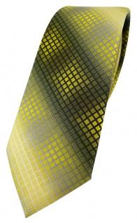 schmale TigerTie Designer Krawatte in gelb gold silber grau schwarz kariert