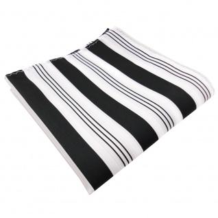 TigerTie Einstecktuch in schwarz anthrazit weiß silber gestreift