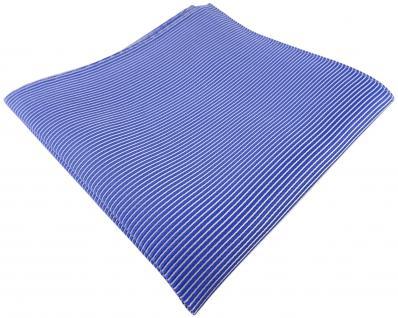 TigerTie Seideneinstecktuch in blau signalblau silber gestreift - Gr. 30 x 30 cm