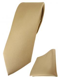 schmale TigerTie Designer Krawatte + Einstecktuch in dunkelgold einfarbig uni