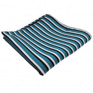 TigerTie Einstecktuch in türkis schwarz weiß gestreift - Tuch 100% Polyester