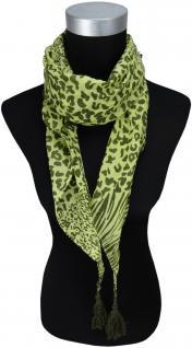 TigerTie Damen Halstuch Dreieckstuch in grün dunkelgrün gemustert - 160 x 75 cm