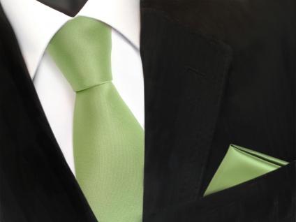 schöne TigerTie Krawatte + Einstecktuch grün hellgrün gelbgrün uni - Binder Tie
