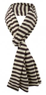 Damen Schal braun dunkelbraun beige gestreift Gr. 172 cm x 27 cm - Halstuch Tuch