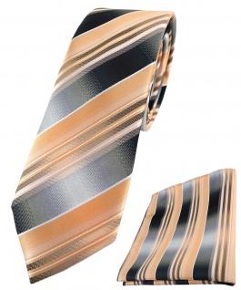 schmale TigerTie Krawatte + Einstecktuch lachs orange silber anthrazit gestreift