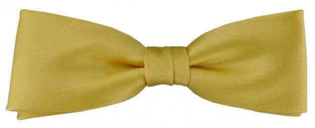 vorgebundete schmale TigerTie Fliege in gelbgold Uni einfarbig + Box