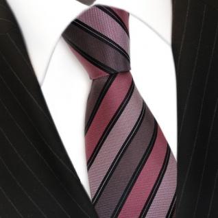 Seidenkrawatte rot braun schwarz silber gestreift - Krawatte Seide Binder Tie - Vorschau 3