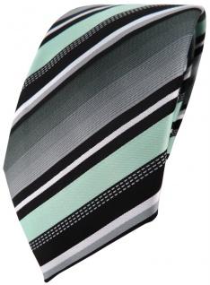TigerTie Designer Krawatte in mint silber grau weiss gestreift - Tie Binder
