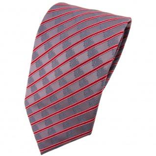 TigerTie Krawatte rot verkehrsrot grau silber gestreift - Tie Binder