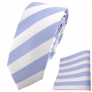 schmale TigerTie Designer Krawatte + Einstecktuch hellblau weiß gestreift