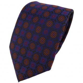 TigerTie Designer Krawatte in marine kupfer rot schwarz gemustert - Binder