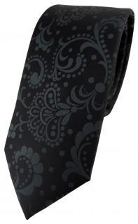 schmale TigerTie Designer Krawatte in schwarz anthrazit Paisley gemustert