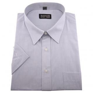TRAVELMASTER Business Herrenhemd silber - Hemd Gr.45/46 XXL kurzarm