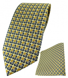 TigerTie Krawatte + Einstecktuch in gelbgold silber marine gemustert