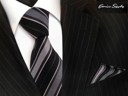 Enrico Sarto Seidenkrawatte & Einstecktuch anthrazit schwarz grau gestreift