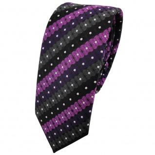 Schmale TigerTie Krawatte lila schwarz anthrazit silber gestreift - Binder Tie