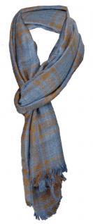 TigerTie Designer Schal in blau jeansblau braun gemustert - Gr. 180 x 50 cm