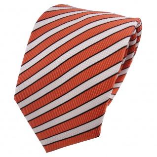 TigerTie Designer Krawatte orange rotorange creme schwarz gestreift - Binder Tie