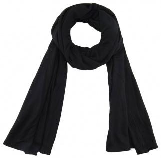 TigerTie - Schal in schwarz einfarbig Uni - Größe 180 x 30 cm - 100% Viscose