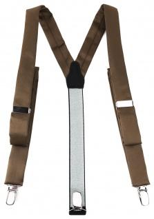 schmaler TigerTie Unisex Hosenträger mit 3 extra starken Clips - graubraun Uni