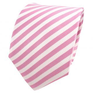 TigerTie Designer Seidenkrawatte rosa hellrosa weiß gestreift - Krawatte Seide