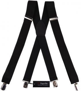 breiter TigerTie Herren Hosenträger mit 4 Clips in X-Form - Farbe schwarz