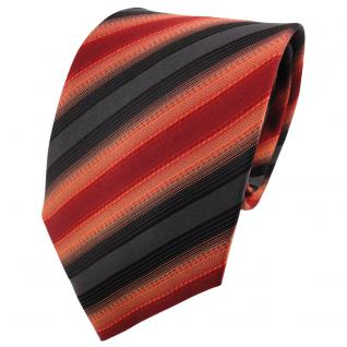 TigerTie Designer Seidenkrawatte rostbraun orange anthrazit schwarz gestreift