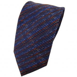 TigerTie Krawatte blau dunkelblau orange braun gestreift - Tie Binder