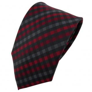 TigerTie Designer Krawatte rot anthrazit schwarz kariert - Schlips Tie