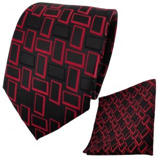 TigerTie Krawatte + Einstecktuch in rot signalrot schwarz gemustert - Vorschau 2