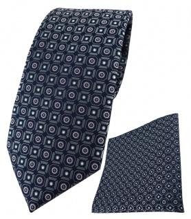 XXL TigerTie Krawatte + Einstecktuch in anthrazit rosa silber schwarz gemustert