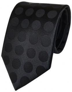 TigerTie Designer Seidenkrawatte in schwarz einfarbig gepunktet