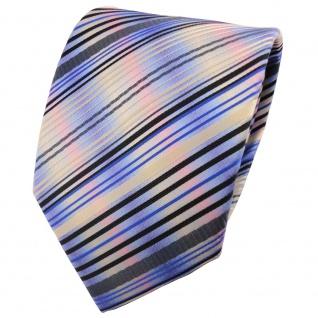 TigerTie Designer Krawatte blau gold anthrazit mehrfarbig gestreift - Binder Tie