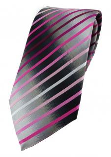 TigerTie Designer Krawatte rosa magenta pink weiss silbergrau schwarz gestreift