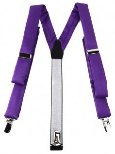 schmaler TigerTie Unisex Hosenträger mit 3 extra starken Clips - in lila Uni