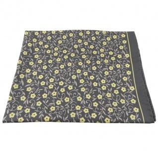 Damen Nickituch in Seide anthrazit gelb beige 53 x 53 - Tuch Halstuch Schal - Vorschau 2