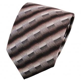 TigerTie Krawatte dunkelbraun grau silber anthrazit gestreift - Krawatte Binder