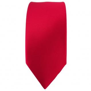 schmale TigerTie Satin Seidenkrawatte in rot einfarbig - Krawatte 100% Seide - Vorschau 2