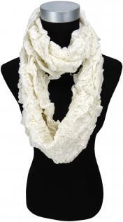 Damen Loop Schal in cremeweiss im Knitterlook - Größe 180 x 40 cm - Rundschal